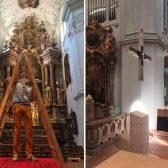 Die Montage vor Ort in der Stiftskirche St. Peter, Salzburg.
