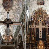 Nun ist alles fertig! Das Kreuz hängt unter der Kuppel über dem Altar.