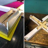 Ein Kreuz-Schenkel des Modells wird testweise umhüllt.