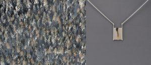 Winterwald, Steiermark, 34x23 cm + Anhänger, Silber, Dendriten-Achat