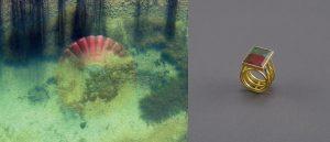 Spiegelung im Weiher, rot, Salzburger Land + Ring, Gold, Rot-Grüner Turmalin