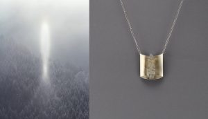 Halo im Eisnebel, Filzmoos, 39x52 cm + Collier, Palladium, Edelstahl, Saphirkristall