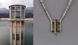 Turm am Staudamm, Pantà de Sau + Collier, Silber, Turmalinkristall, Turmalinsplitterkette